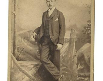 19th Century Young Gentleman - 1800s Cabinet Card Photograph - Elmira, New York