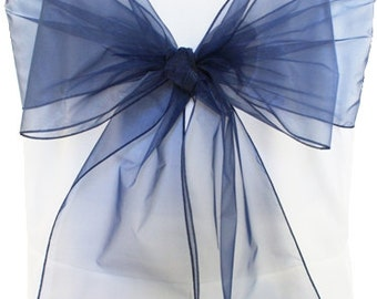 Navy Organza Chair Sashes  Navy Blue   8 X 108  Wedding Birthdays corporate Events  Pew Bows Ships flat