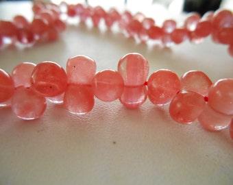 "Cherry Quartz ""Bone"" Style Glass Beads"