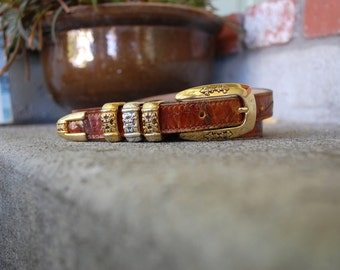 Vintage Belt Womens Size Medium Brown Leather Gold and Silver Buckle Boho Decorative Victorian High Wasted Belt Southwestern Hobo Preppy