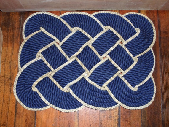 "Navy & Gold Soft Cotton Rope Bathmat 23 x 16"" Knotted Hand Woven Nautical Coastal Beach Rope Rug"