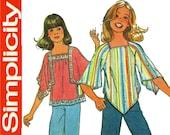 Girls Boho Smock Top Pattern Simplicity 7831 Easy Jiffy Pullover Tunic Scarf Handkercheif Hem Bell Angel Sleeve Tops Vintage Sewing Patterns