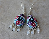 Beautiful Polymer Clay Floral Applique Dangle Earrings
