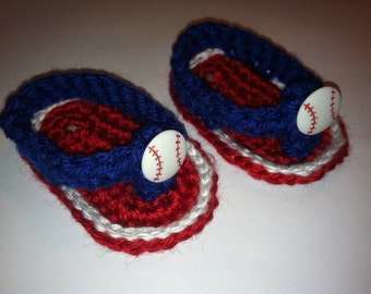 Baseball Baby Crocheted Sandals Flip Flops Shoes Size 0-3 / 3-6 Months Red White & Blue