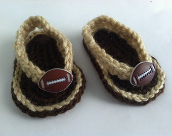 Football Baby Crocheted Sandals Flip Flops Shoes Size 0-3 / 3-6 Months Tan and Brown