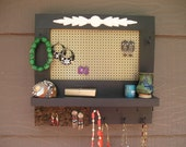 Black jewelry organizer with shelf and gold screen, jewelry holder, jewelry organizer, made in Montana, woodworking, earring holder, stud