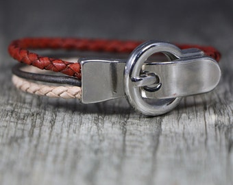 Red, Brown, and Natural Leather Bracelet with Silver Tone Buckle Clasp