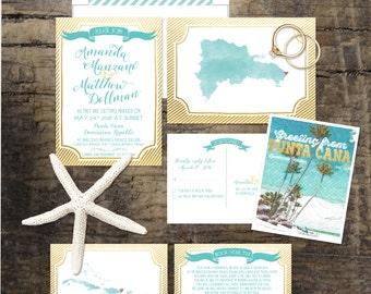 Destination wedding invitation Caribbean Wedding Invitation Dominican Republic - Deposit Payment - Blue Faux Gold