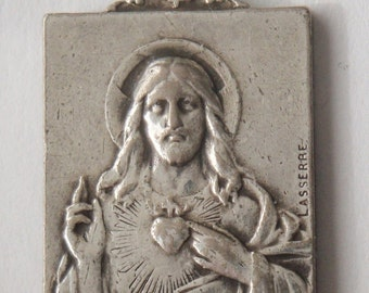 "Jesus & Virgin Mary Scapular Antique Religious Medal Pendant Jewelry by LASSERRE on 18"" sterling silver rolo chain"