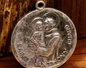 Saint Anthony of Padua & Saint Christopher Creed Sterling Silver Relgious Medal Pendant on 18 inch sterling rolo chain