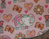 Pink Elephant Burp Cloth With Minky