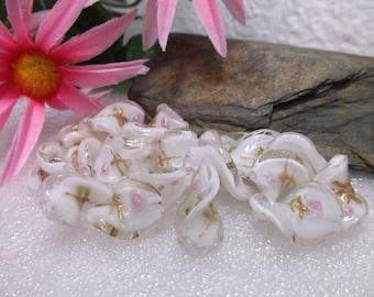 20 Wedding White Beauty Wave Lampwork Beads