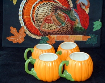 Vintage Handmade Ceramic Pumpkin Cups, Set of 2, One Addition Cup Available
