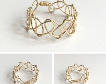 TATTOO - gold-plated wire-weaved ring