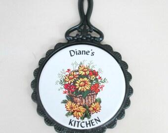 Large Wrought Iron Trivet Diane's Kitchen Mid Century Vintage Home Decor