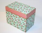 READY TO SHIP - Cherry Recipe Box, Red and Aqua, 4x6 Wood Box, Red Gingham Recipe Box, Cherries and Dots, Keepsake Box, Recipe Organizer
