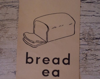 Vintage Alphabet Flash Card - B is for Bread - 1950s Illustrated School Flash Card
