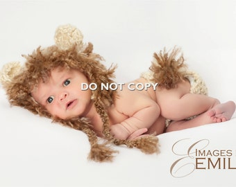 Baby Set/Lion Hat and Diaper Cover with long tail/Photo Prop/Animal Hat (fits Newborn)