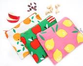 Zippered Snack Bag with Food-Safe Nylon Lining - Green Apple, Pink Lemondade or Oranges (Organic Cotton)