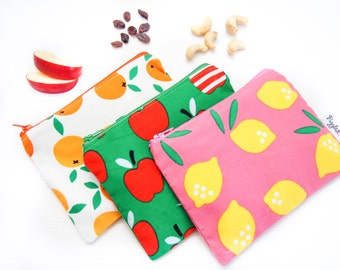 Zippered Snack Bag with Food-Safe Nylon Lining - Green Apple, Pink Lemondade or Oranges (Organic Cotton)