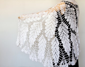 White shawl Lace Crochet shawl Wedding shawl Wraps shawls Large Shawll