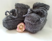 Baby Booties Hand Knitted Gray Newborn to 6 months  Modern & Smart Boy Bootees Grey Handmade