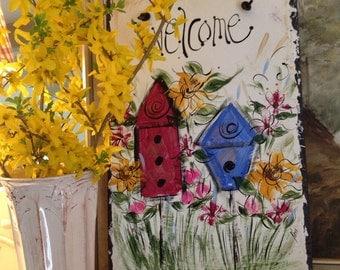 Birdhouse, garden sign 10x16. Original hand-painted slate.