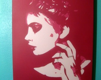 Original Stencil Portait Painting ~ Nathalie Multi-Layer Artwork by Jessica Pope ~ Lady on Canvas in Pink