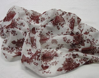 Gorgeous Vintage Fabric Remnant, Sheer Cotton Voile, White with Brown Floral 37 x 39""
