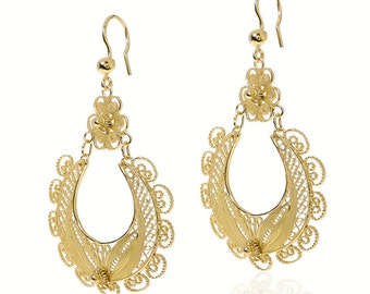Big Filigree earrings Gold 18k vermeil Large Ornate flower earrings Bohemian Wedding jewelry