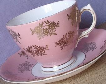 Antique teacup and saucer, Colclough Pink tea cup, Pink and Gold roses tea cup, English tea cup, Bone china tea cup, Pink china teacup