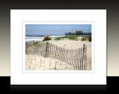 Avalon Beach Dune Matted Print, Beach theme, Avalon Fishing Pier, Beach House wall decor, Ready for framing