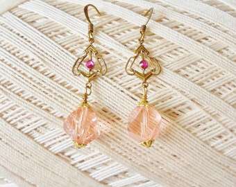 Edwardian Drop Earrings Pink Helix Spiral Swarovski Crystals