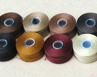 12 Browns, Reds, Golds S-Lon Thread Colors - Size AA