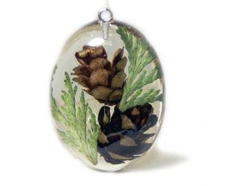 Resin Jewelry - Flower Jewelry - Necklace Charm - Green Resin Pendant - Green Jewelry - Handmade Flower Jewelry - Real Flower Jewelry