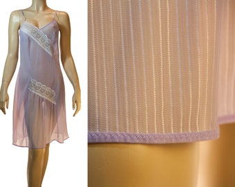 Elegant romantic really sheer soft  flimsy lilac nylon and matching delicate lace detail 1960's vintage full slip petticoat - 3197