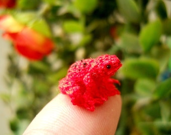 Red Frog - Micro Crochet Miniature Tiny Stuffed Animals - Made To Order