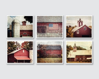 Red Farmhouse Decor, Pictures of Red Barns, Rustic Red Barn Photo Gallery, Red Wall Decor of Red Barns, Living Room Wall Artwork, Set of 6.