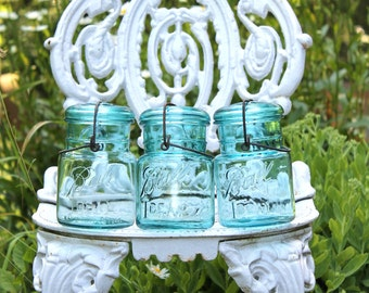 3 Vintage Ball Aqua Ideal Pint Jars with Glass Lids Metal Closure ~ Holiday & Wedding Centerpieces - Kitchen Storage - Insurance w/Shipping