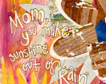 MOM'S SUNSHINE, Mothers Day, Thank You Mom, Birthday for Mom, Mother Gift,  Wall Art, Mixed Media Art, by Seattle Artist Mary Klump