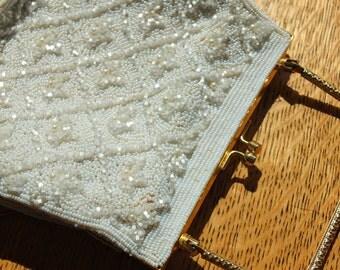 Ivory vintage antique wedding cocktail purse bag evening bag wedding dress perfect flapper cocktail purse