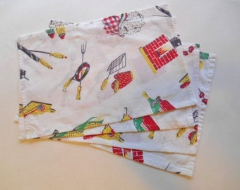 Barbecue theme upcycled napkins set of 4