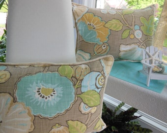 Burlap Piping Decorative Pillow - Shades of Aqua, Lime Green, Yellow, Beige - Natures Large Flowers and Pods Design Pillow - 14 x 20 Inch