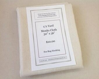 "Half Yard Monks Cloth for Rug Hooking, 30"" x 36"", J686"