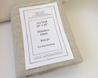 "Half Yard Primitive Linen for Rug Hooking with Raw Edges, 30"" x 36"", J788, Rug Hooking Backing Fabric, Foundation Fabric"