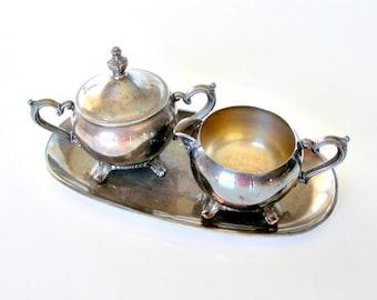 Vintage Silver Cream and Sugar set. Silverplate Cream & Sugar Set with Tray. 3 Piece Set.