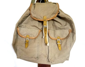 French Vintage back sack backpacks canvas with leather straps  boyscout eagle scout rustic scout wanderer