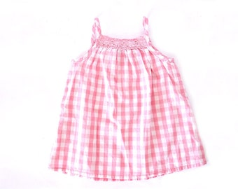 French antique baby girl gingham pink summer dress