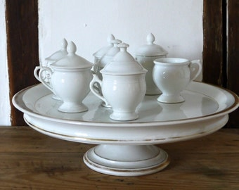French antique demi tasse pedestal and cream pots service