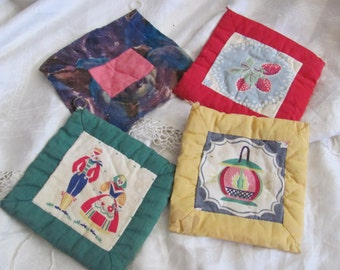 Hot Pads Lot of 4 Vintage Handmade Fabric Hot Pads Pot Holders